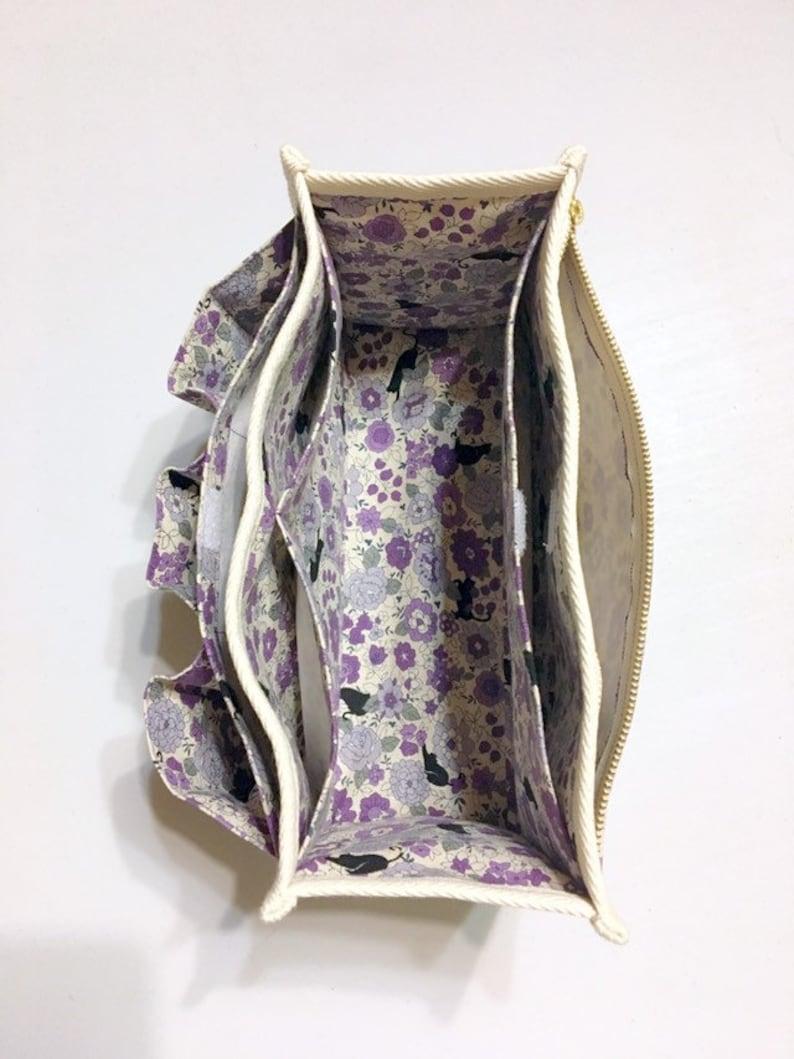 Black Cats in a Flower Garden - Purse Organizer  Inner Purse  Purse Insert  Bag in Bag Purple