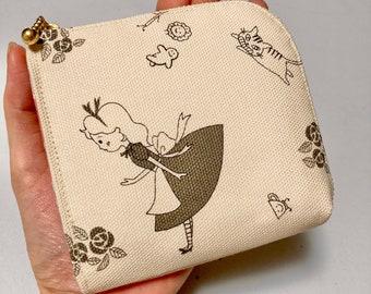 L Shaped Zipper Coin Purse --- Alice in Wonderland