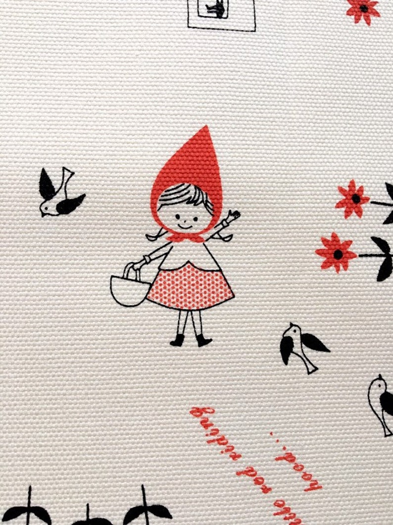 Little Red Riding Hood Fairy Tale Girl Flowers Ivory Cotton Fabric by the Yard
