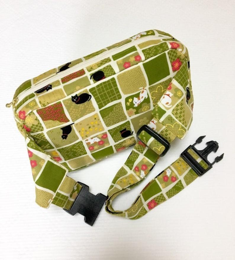 Body Bag  Waist Pouch  Hip Bag - Matcha Green Ichimatsu