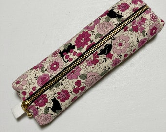 Pencil Case / Glasses Case --- Black Cats in a Flower Garden - Pink