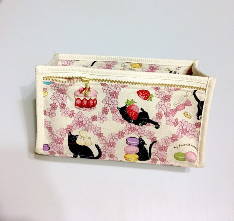 Ivory - Purse Organizer  Inner Purse  Purse Insert  Bag in Bag Sakura Cats and Sweets