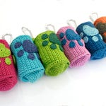 Crochet dog poop bag holder, crochet dog poop bag dispenser, poo bag holder, dog paw, dog pawprint, dog accessories, pet accessories