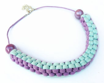 T-shirt yarn necklace, pastel colors cotton necklace, textile necklace, mint fiber necklace, vegan, gift for her, mother's day gift