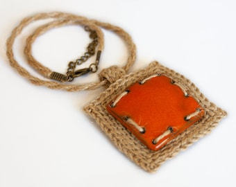 Jute crochet necklace, ceramic pendant, hemp crochet pendant, organic fiber necklace, geometric pendant, vegan jewelry