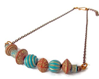 Boho copper necklace, gypsy style necklace, African inspired necklace, ethnic tribal jewelry, vegan jewelry, boho hippie tribal gift for her
