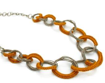 Hemp crochet long necklace,mustard cotton necklace,crochet chain long necklace,hemp necklace,crochet jewelry,hemp jewelry,gift for her
