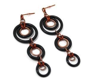 Rubber dangle earrings, unique circle dangle earrings, boho chic copper earrings, urban pop rock style earrings, black long earrings
