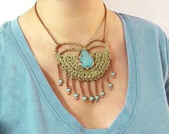 Crochet necklace,hemp necklace,tribal necklace,ceramic necklace,fringe necklace,ethnic,boho necklace,boho style,aqua,giada cortellini,summer