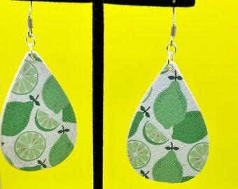 Vegan Leather Teardrop Lime Earrings