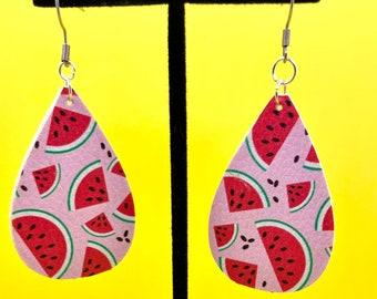 Vegan Handmade Watermelon Teardrop Earrings