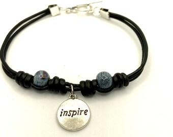 Knotted Macrame Leather Beaded Bracelet with Inspire Charm