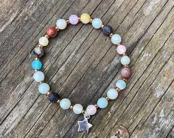 Agate and Quartz Semiprecious Stones Stretch Bracelet with Star Charm