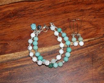 Handmade Double Strand Gemstone Beaded Charm Bracelet and Earrings Set - Beach - Howlite, Moganite - Adjustable