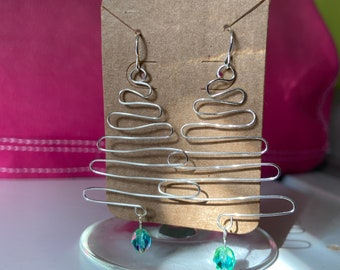 Handmade Silver Wire Wrapped Tree Earrings with Blue/Green Glass Bead Ornaments