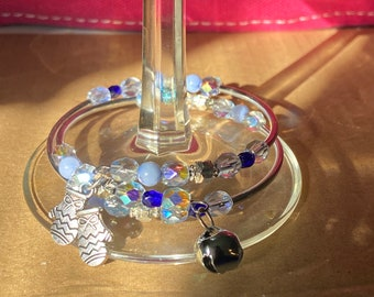 Handmade Beaded BlueDouble Stack Bangle Bracelet with Charms and Jingle Bell