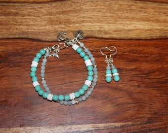 Handmade Double Strand Beaded Gemstone Bracelet and Earrings Set - Adjustable - Jade, Moonshell, Magnesite - Beach Jewelry