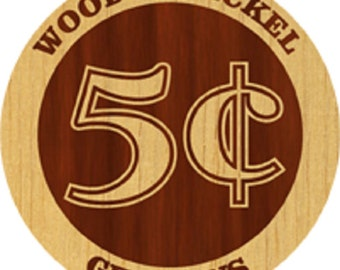 Custom Laser Engraved Wooden Nickel Swag 50 Pack