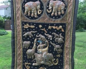 Myanmar wall hanging . embroidered wall hanging . elephant wall hanging . embroidered tapestry . kalaga . Burmese tapestry