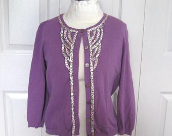 1b0ad16e6a purple Cardigan . Size M . Ribbon Cardigan . 40s style cardigan .  anthropologie cardigan