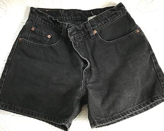 9d5cc9ba2c4bc black denim shorts . high waisted shorts . 90s jeans shorts . black Levis  shorts . denim shorts . Levis shorts . 8 petite