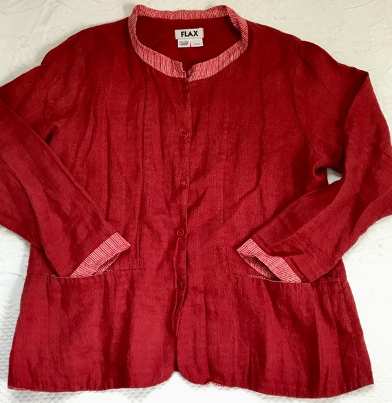 Flax linen blouse . red Linen blouse . FLAX  . ove