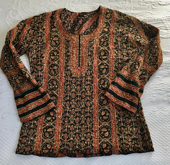 Hand embroidered Top . peasant blouse .  Indian em