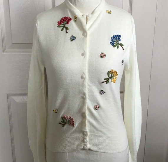 60s embroidered sweater . Lampl . embroidered card