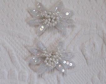 beaded shoe clip . wedding shoe clips . white flower shoe clip
