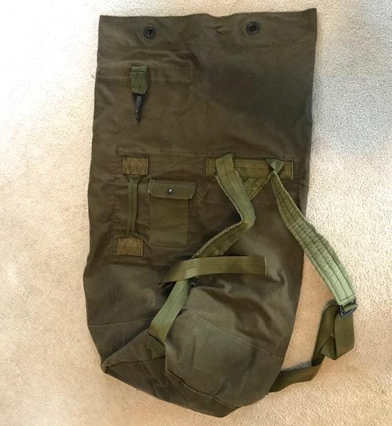 army duffle bag . 80s army duffle bag . vintage US Army duffle  25641f8d40dcd