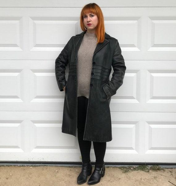 leather coat . dark green leather coat . Nine West