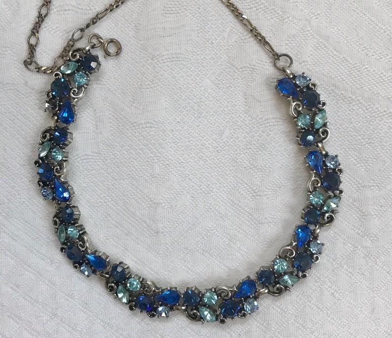 blue rhinestone choker