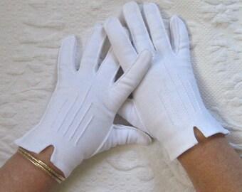 Short White Gloves . white gloves  . short white cotton gloves .hand stitched gloves