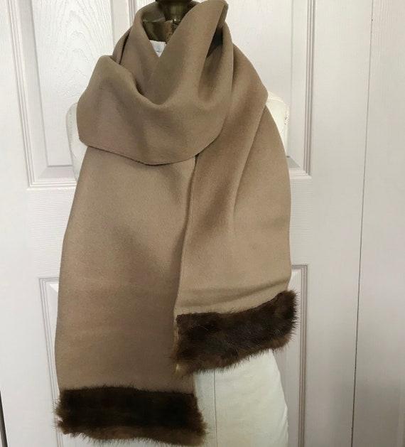 long wool scarf with mink trim . wool scarf . mink