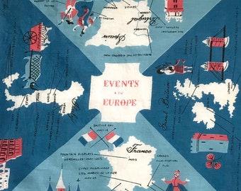 Tammis keefe hankie . vintage hankie .  events in Europe hankie . novelty hankie . Europe hankie . Tammis Keefe
