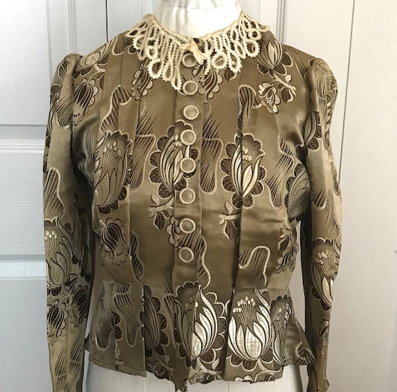 antique peplum blouse .  edwardian blouse . brocad
