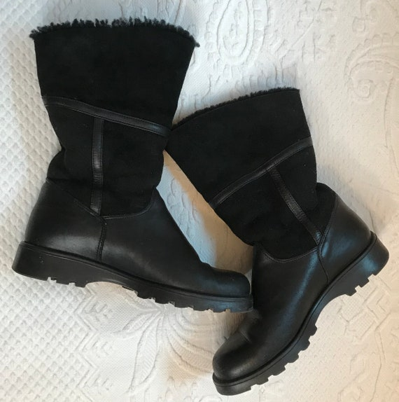 black shearling suede boots . ankle boots