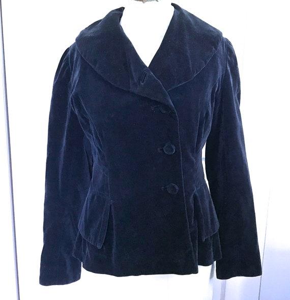 Peplum Jacket . 40s Jacket . blue velvet peplum ja