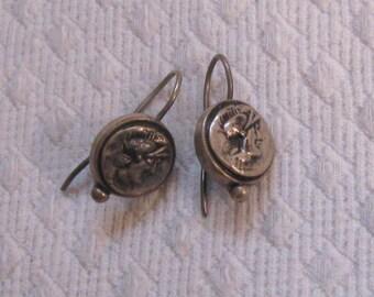 roman soldier earrings . silver earrings . dangling earring .