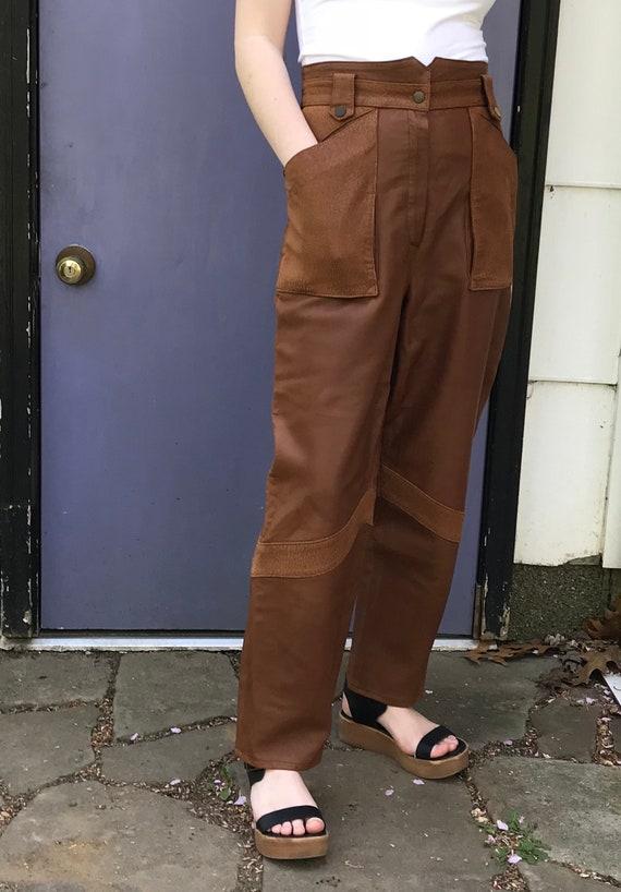 high waisted leather pants . 80s leather pants . b