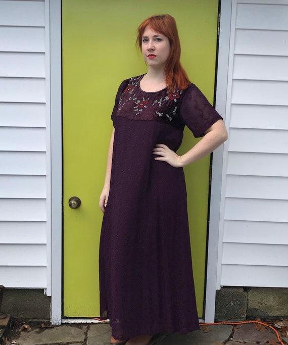 vintage April Cornell . embroidered velvet dress .