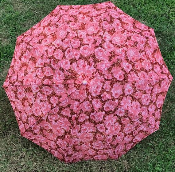 vintage umbrella . 60s umbrella . pink floral umbr