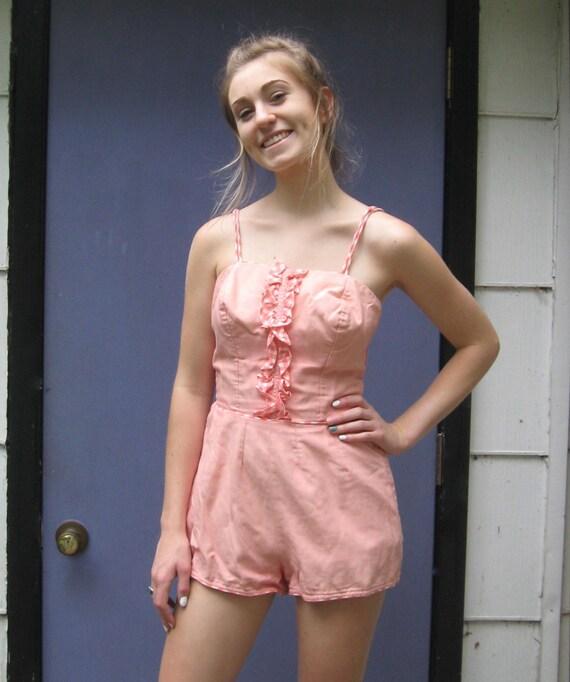 60s bathing suit . gingham ruffle bathing suit  .
