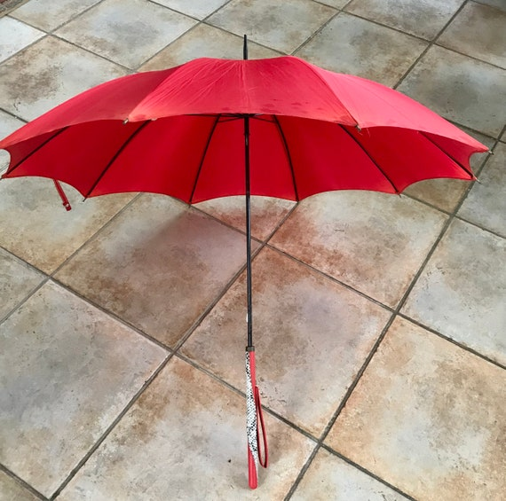 vintage umbrella . 60s umbrella . red umbrella .