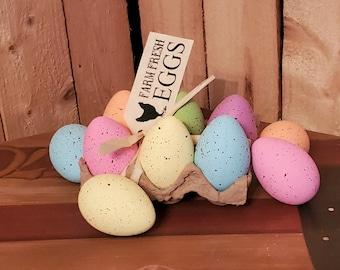 Easter Pastel Speckled Carton of Eggs Basket Bowl Filler Decor 12pcs
