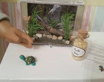 Pet set - Turtle aquarium, food, care sheet fits 18 inch dolls
