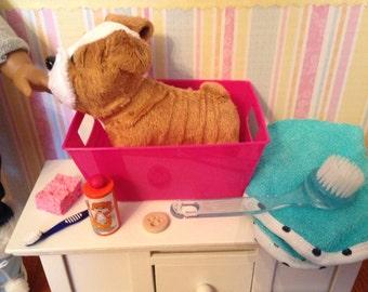 "18"" Doll Pet Grooming Set - Wash tub, brush, sponge, shampoo, towel 1:3 scale"