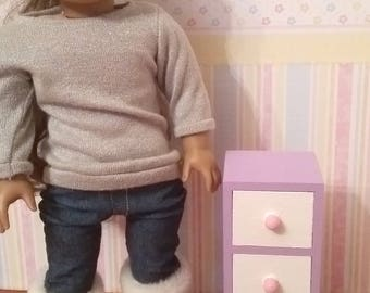 18 inch Doll 3 drawer cabinet, night stand, end table, doll storage