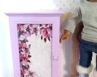 18 inch Doll Cabinet - Dresser, storage wood chest