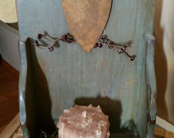 Primitive Country Wood Candle Holder, Wall Sconce- Grubby candle decor Rustic Home decoration, berries, rusty heart